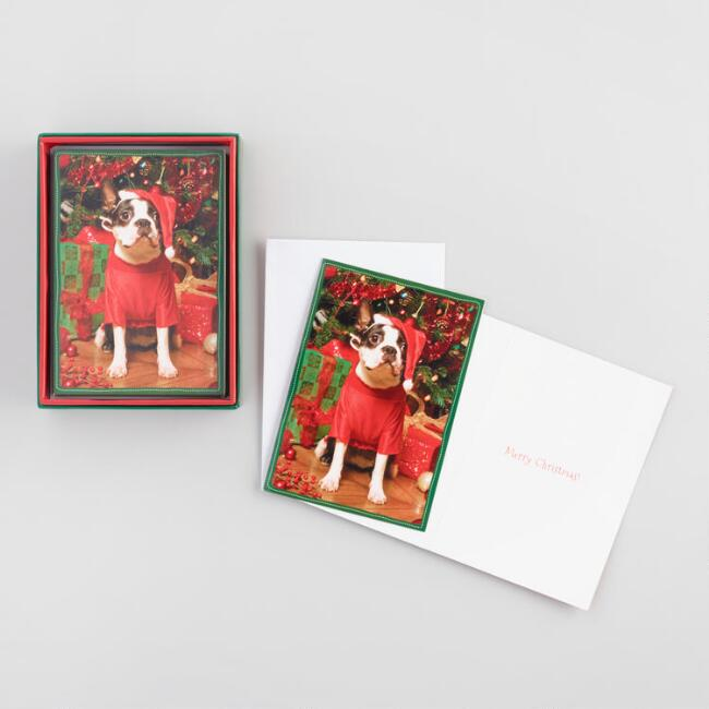 Terrier in a Santa Hat Boxed Holiday Cards Set of 16
