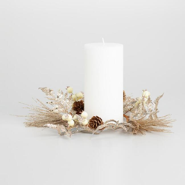 Champagne Glittered Fern and Pine Candle Ring