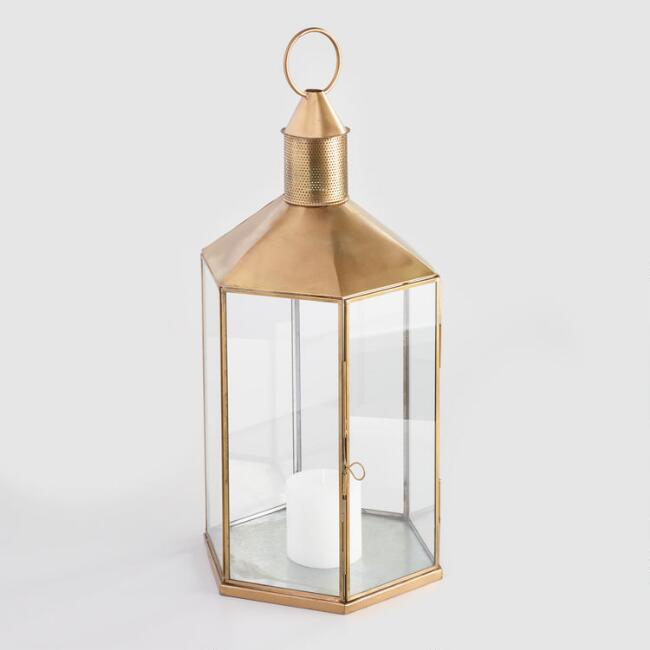 Antique Brass Hexagonal Lantern
