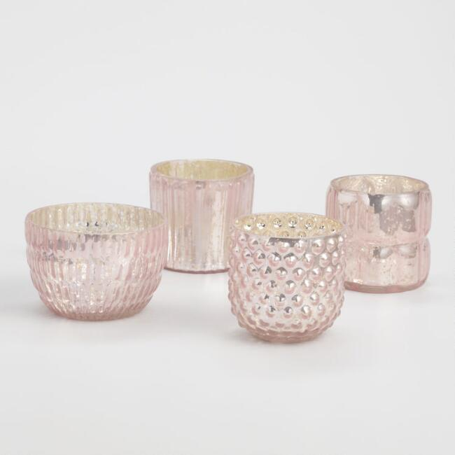 Pink Mercury Glass Votive Candleholders Set of 4