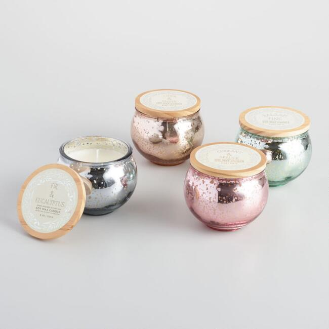 Mercury Glass Candle Jar Collection
