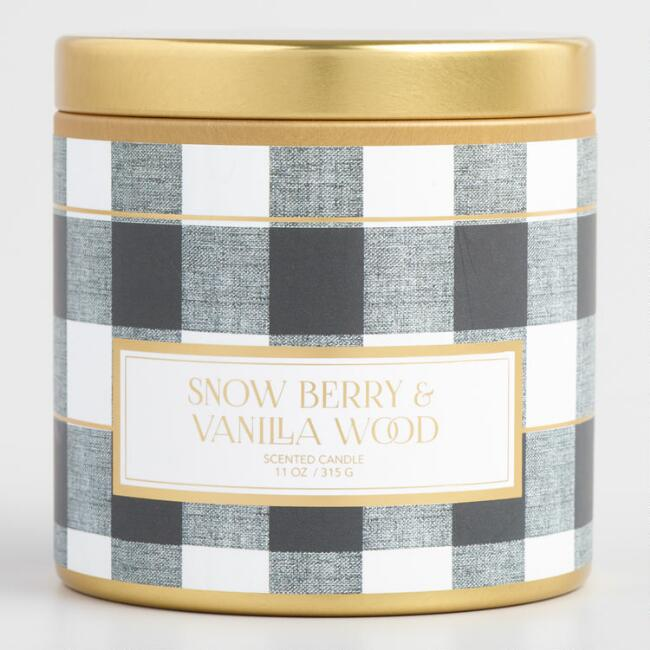 Snowberry and Vanilla Wood Plaid Candle Tin