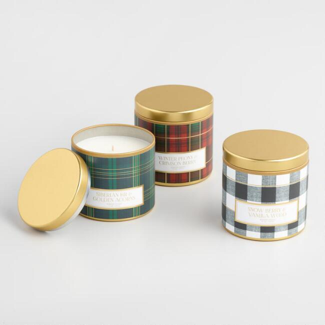 Plaid Candle Tin Collection