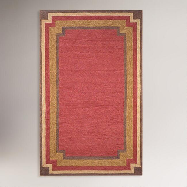 Indoor-Outdoor Rug, Red Border