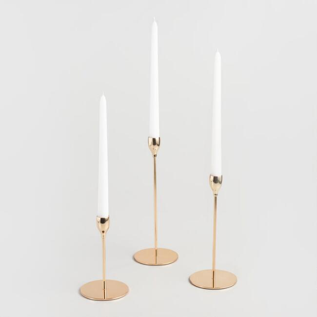 Gold Metal Taper Candleholder