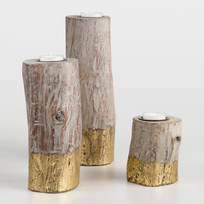 Eucalyptus Wood Gold Dipped Tealight Candleholder
