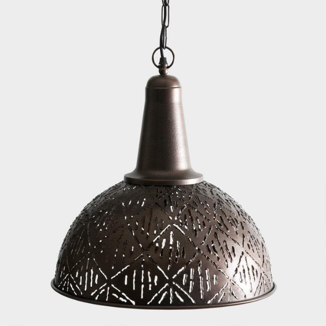 Rustic Bronze Cut Metal Pendant Lamp