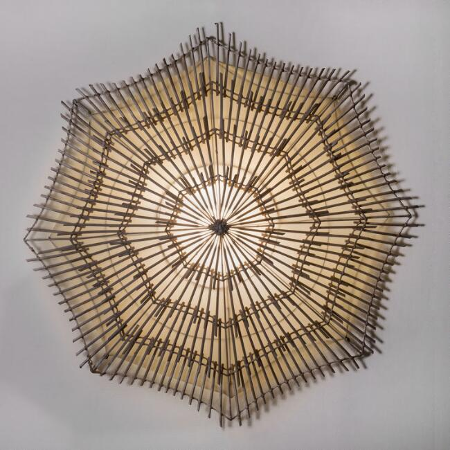 Large White Rattan Canopy Wall Sconce
