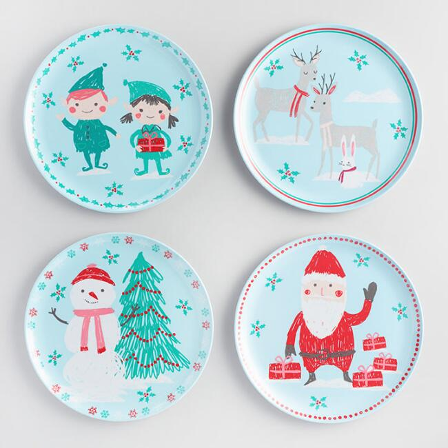 Jolly Santa Melamine Plates Set of 4