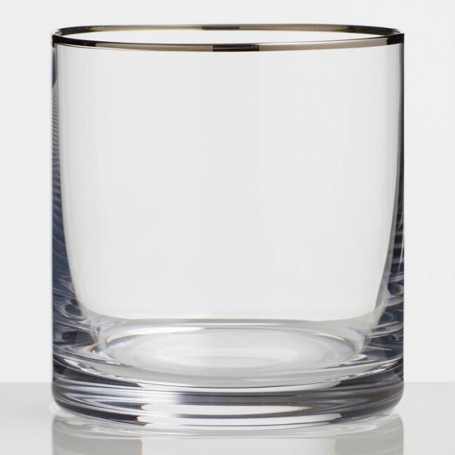 Silver Rim Double Old Fashioned Glasses Set of 4