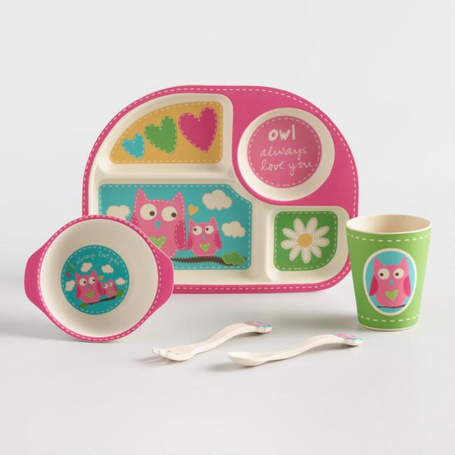 Kids Pink Owl Bamboo Dinnerware 5 Piece Gift Set