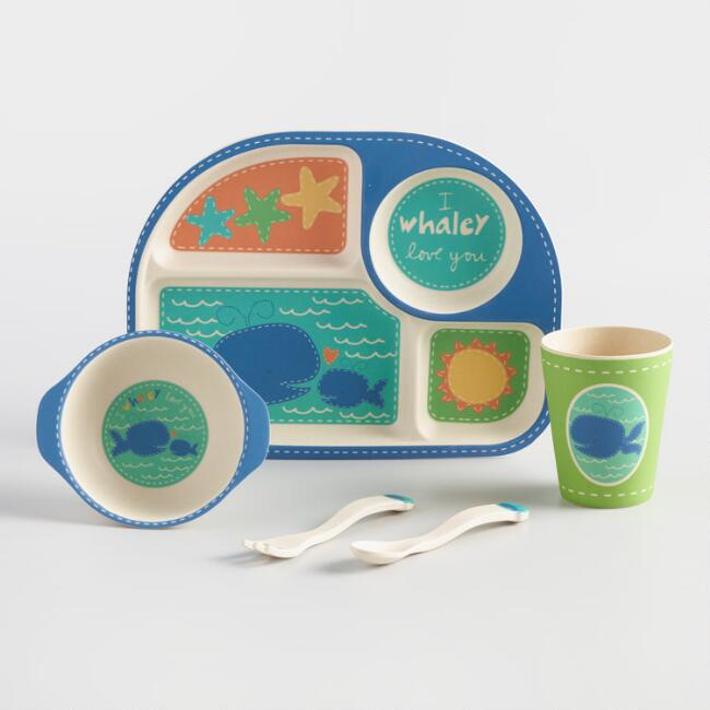 Kids Blue Whale Bamboo Dinnerware 5 Piece Gift Set