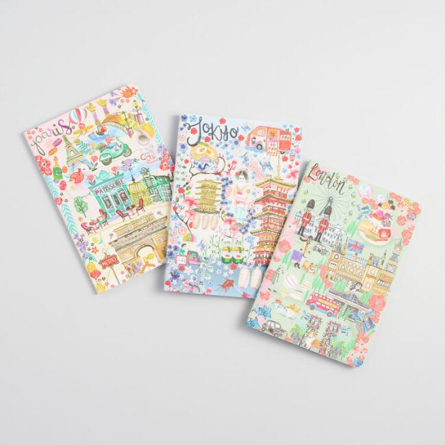 Illustrated City Journals Set Of 3
