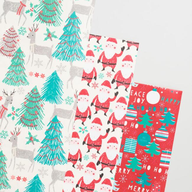 Nordic Santa and Reindeer Wrapping Paper Rolls Set of 3