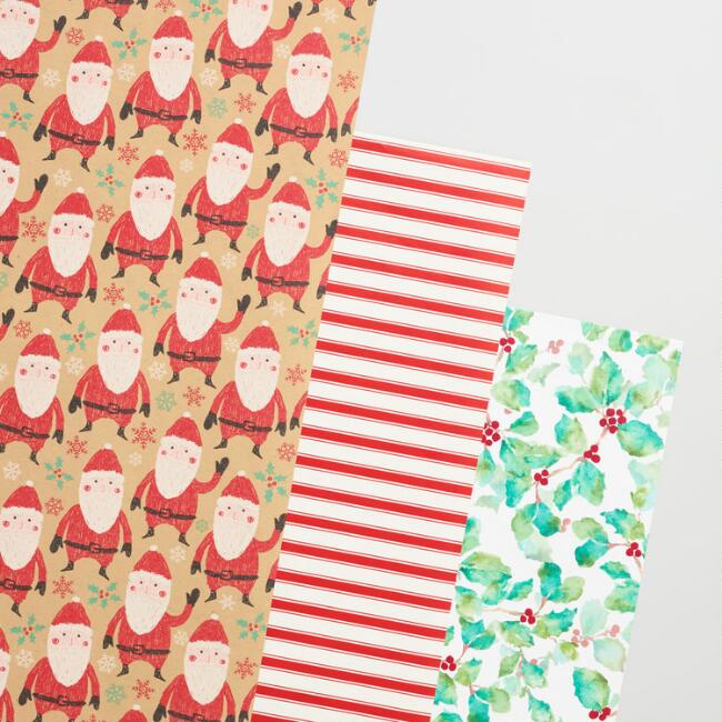 Santa and Berries Striped Wrapping Paper Rolls Set of 3