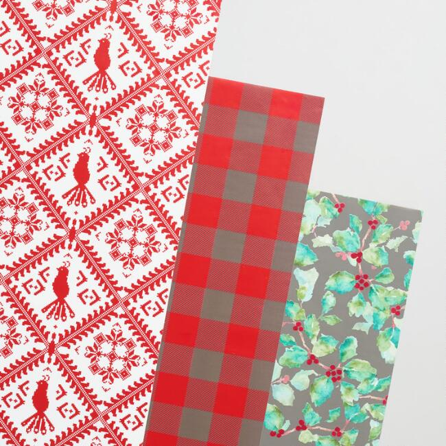 Berries and Plaid Wrapping Paper Rolls Set of 3