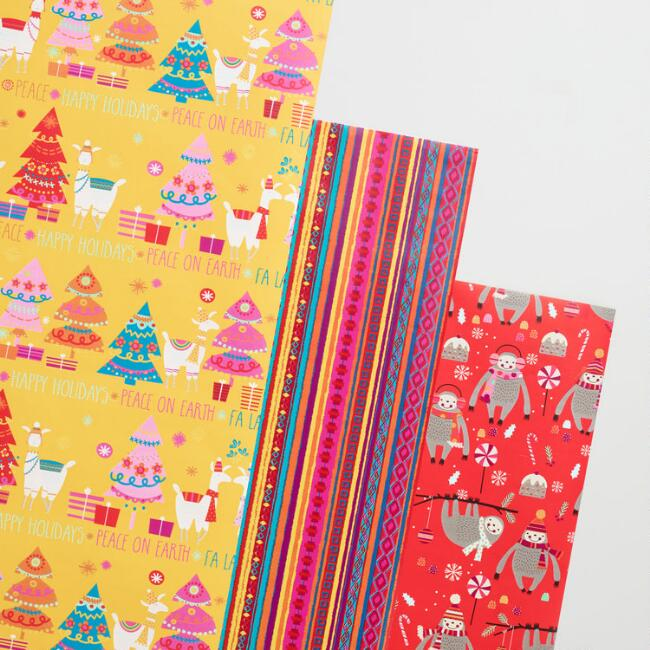 Sloths and Llamas Wrapping Paper Rolls Set of 3