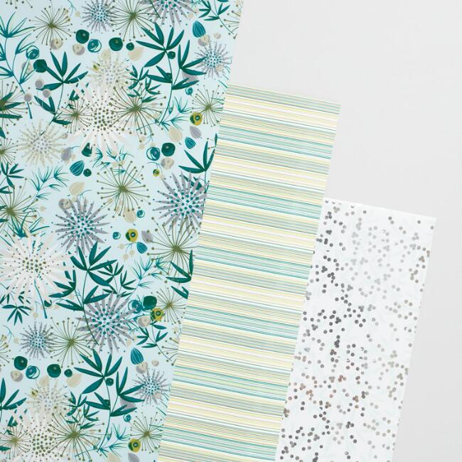 Stripe Floral Berry Wrapping Paper Rolls Set of 3