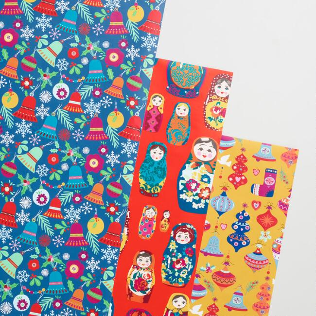 Bells and Nesting Dolls Wrapping Paper Rolls Set of 3