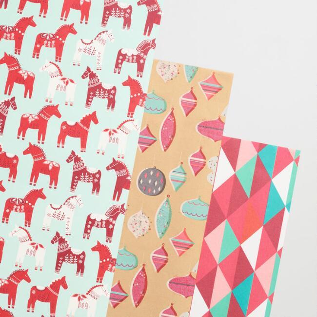 Geometric Horse and Ornament Wrapping Paper Rolls Set of 3