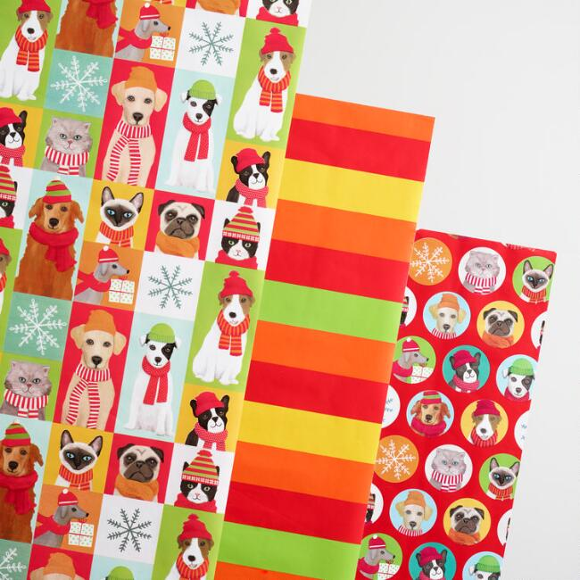 Holiday Puppies and Stripes Wrapping Paper Rolls Set of 3