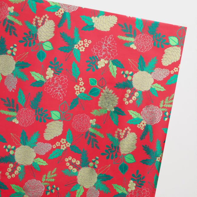 Jumbo Red Pinecone Wrapping Paper Roll