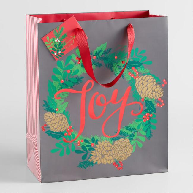 Large Joy Wreath Gift Bag