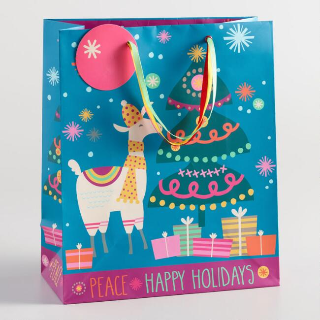 Large Holiday Llama Gift Bag