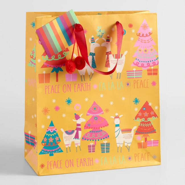Large Yellow Holiday Llama Gift Bag