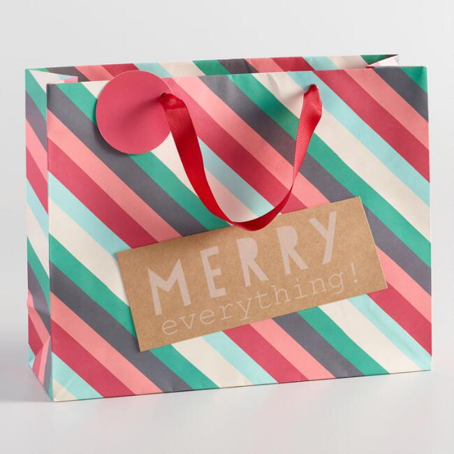Large Nordic Merry Stripe Gift Bag