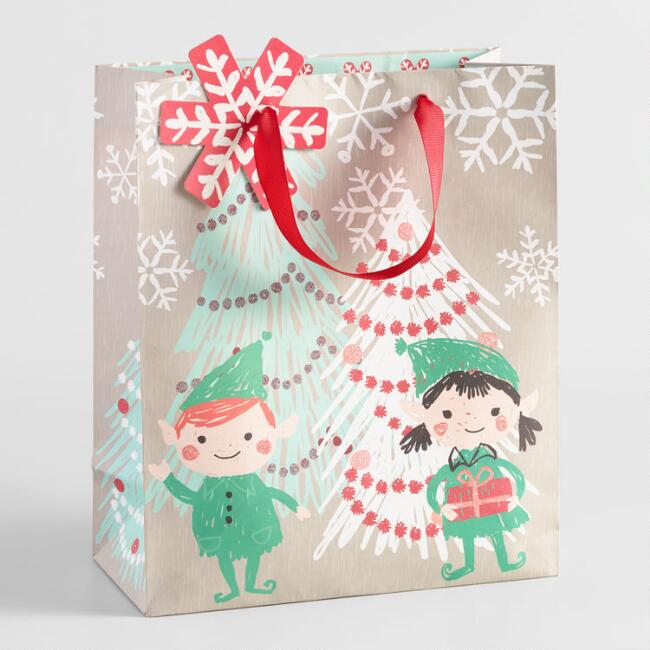 Large Nordic Elves Gift Bag