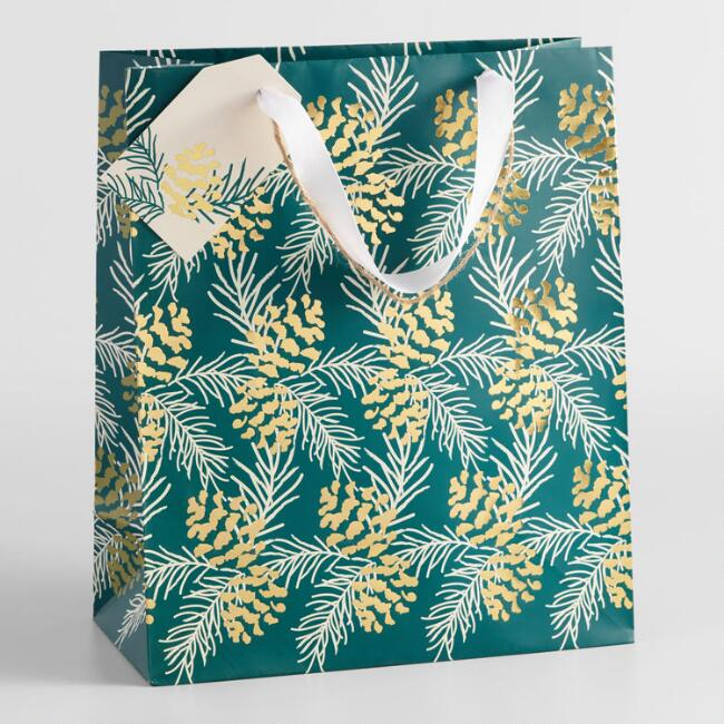 Large Green Pinecone Gift Bag