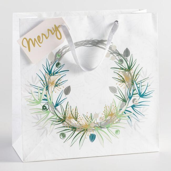 Large Green Wreath Gift Bag