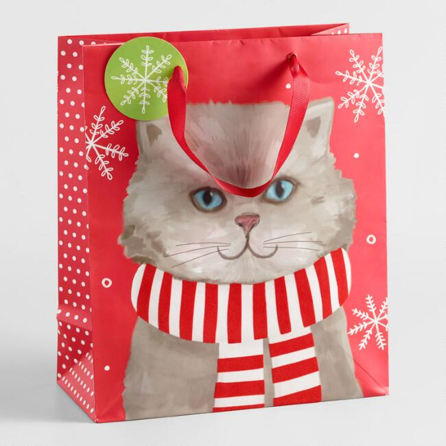 Large Gray Cat on Red Background Gift Bag