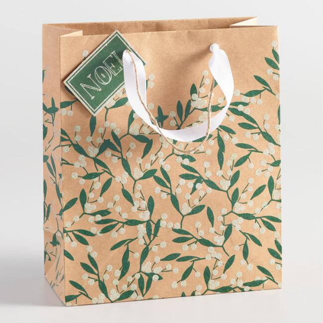 Medium Holiday Berries Kraft Gift Bag