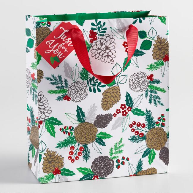 Medium White Pinecone Gift Bag