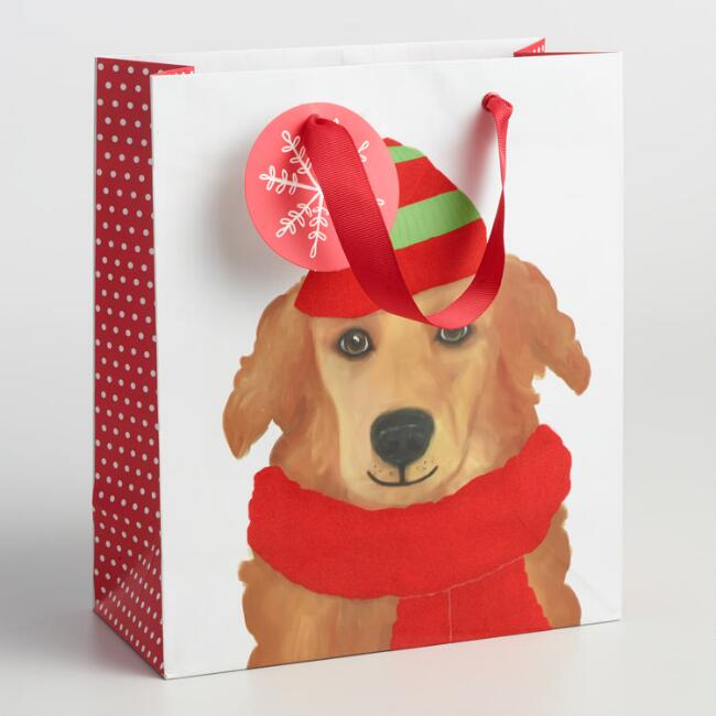 Medium Golden Retriever Holiday Gift Bag