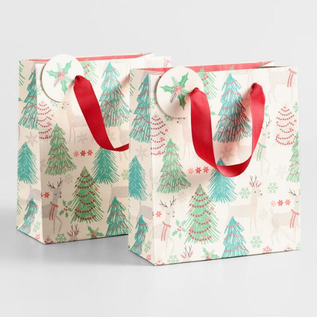 Small Nordic Holiday Animals Kraft Gift Bags Set of 2