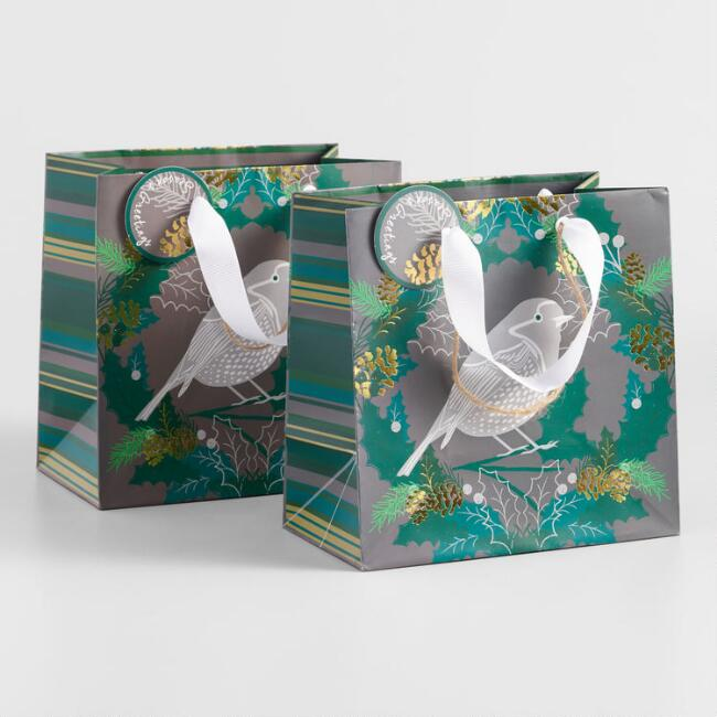 Small Bird and Grain Gift Bags Set of 2