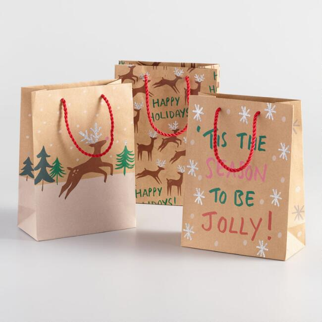 Medium Reindeer Tis The Season Gift Bags Set of 3