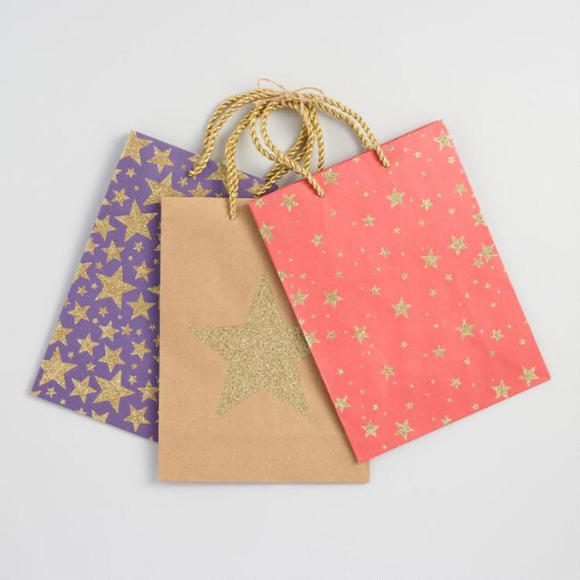 Medium Gold Star Gift Bags Set of 3