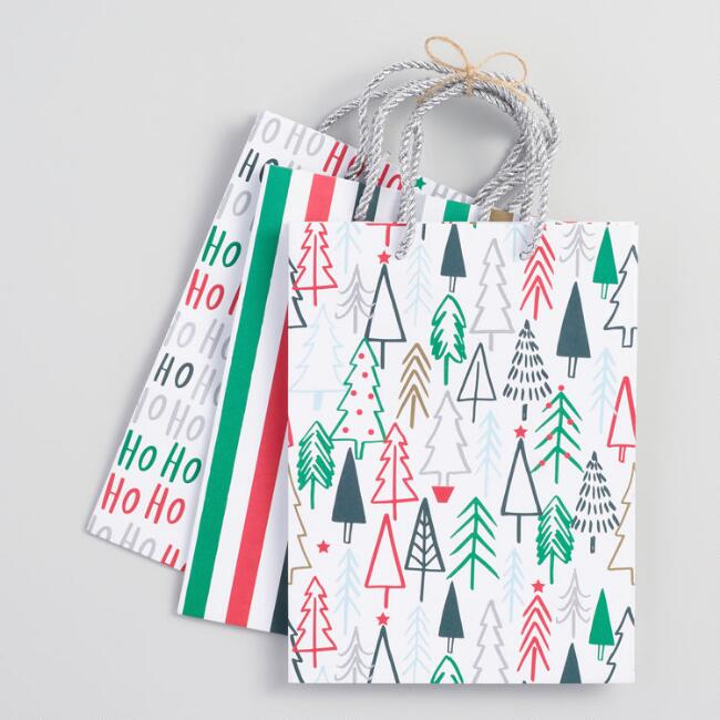 Medium Ho Ho Ho Gift Bags Set of 3