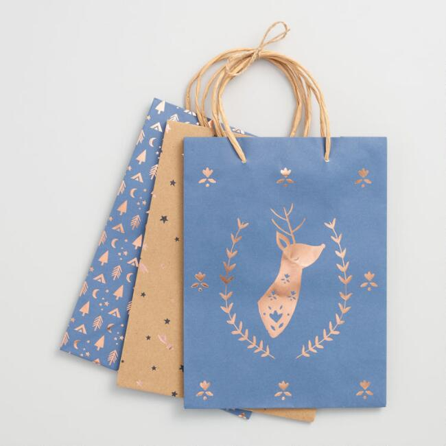 Medium Gold Foil Reindeer Gift Bags Set of 3