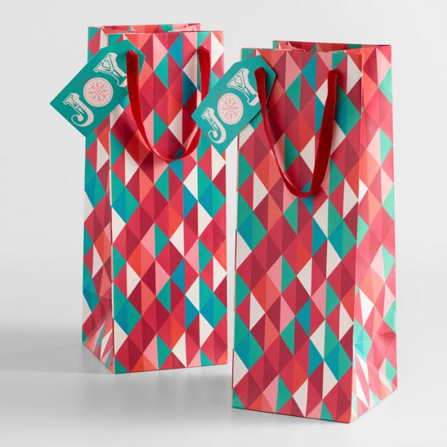 Nordic Multicolor Geometric Wine Bags Set of 2