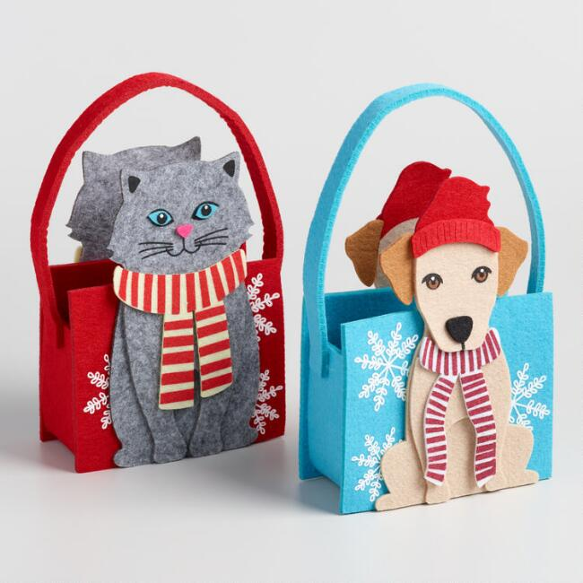 Holiday Puppy and Kitten Felt Baskets Set of 2