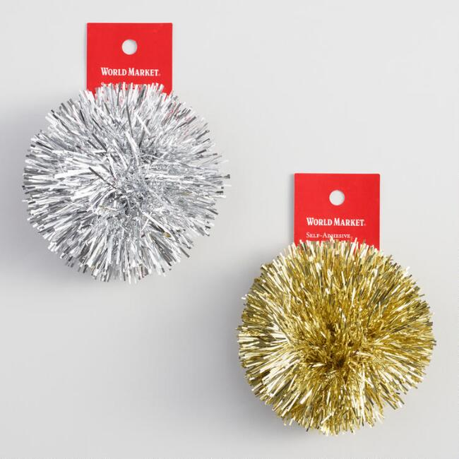 Silver Glitter Pom Bows Set of 2