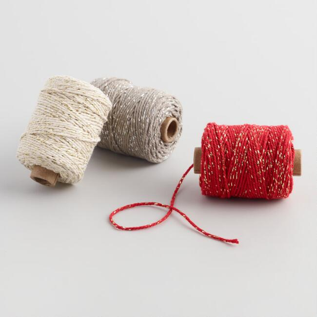 Cotton and Lurex Twist Ribbons Set of 3