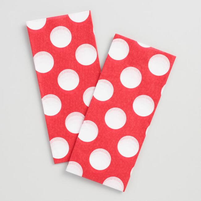 Red and White Polka Dot Tissue Paper Set of 2