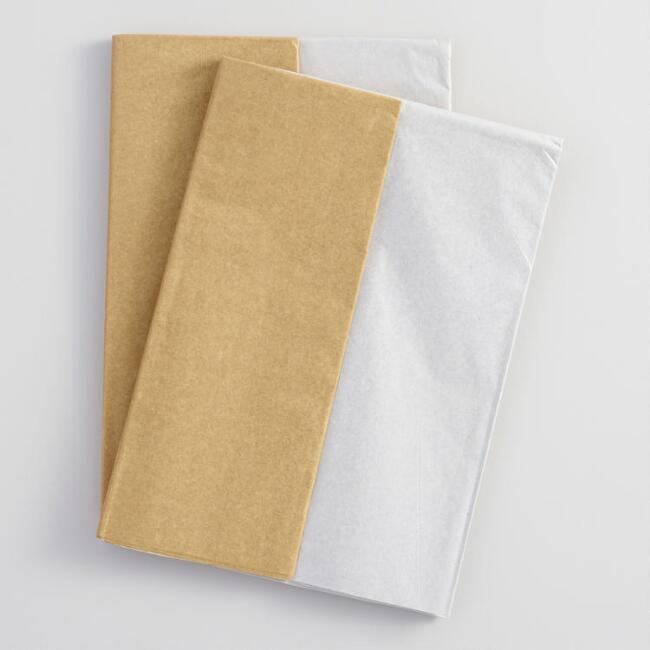 Gold and Silver Metallic Tissue Paper Set of 2