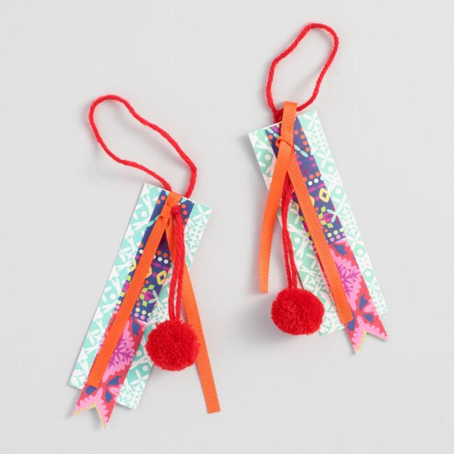 Multi Layer Pom Charm Gift Tag Set of 2